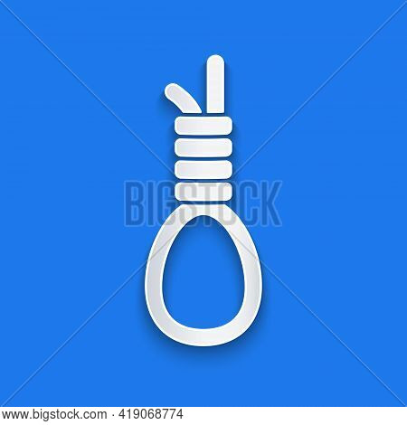 Paper Cut Gallows Rope Loop Hanging Icon Isolated On Blue Background. Rope Tied Into Noose. Suicide,