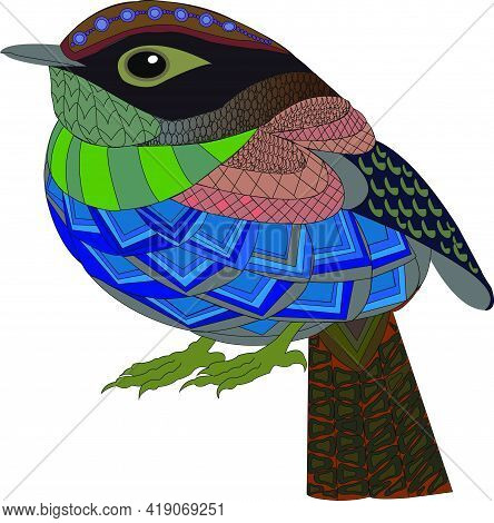 Vector Of Colorful Sparrow Bird On White Background.