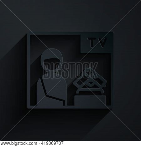 Paper Cut Television Advertising Weapon Icon Isolated On Black Background. Police Or Military Handgu