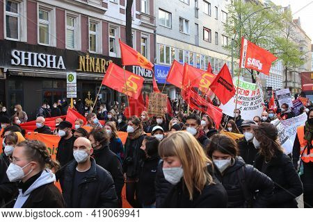 Berlin, Germany - May 01, 2021: Protesters Holding A Banners And Flags At 1st May Demonstrations In