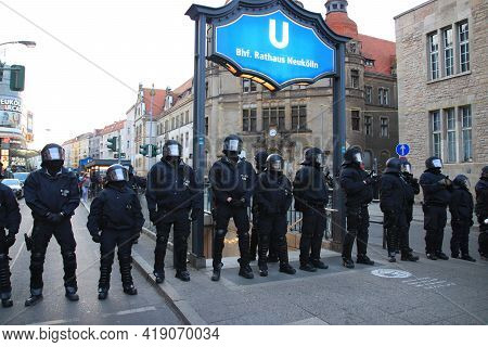Berlin, Germany - May 01, 2021: Police Team On Street At Myfest Celebration On Mayday. May Day In Be