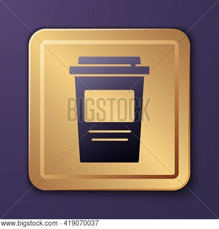 Purple Coffee Cup To Go Icon Isolated On Purple Background. Gold Square Button. Vector