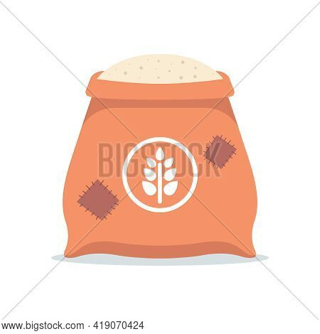 A Large Bag Of White Flour. Processing Of Grain Into Flour. Flat Vector Illustration Isolated On Whi