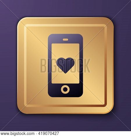 Purple Smartphone With Heart Emoji Speech Bubble Get Message On Screen Icon Isolated On Purple Backg