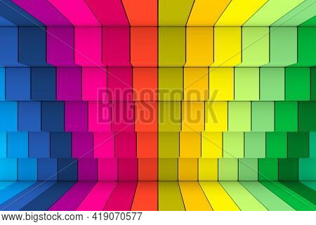 Colorful Stairs Abstract Background 3d Render Illustration