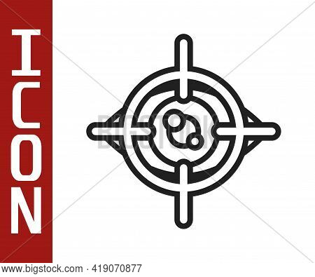 Black Line Eye Scan Icon Isolated On White Background. Scanning Eye. Security Check Symbol. Cyber Ey