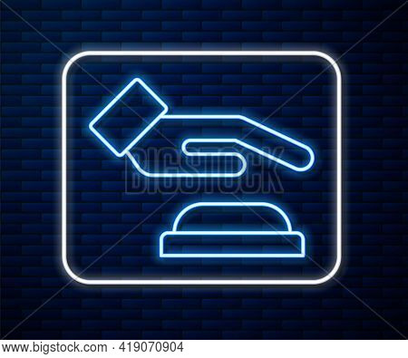 Glowing Neon Line Palm Print Recognition Icon Isolated On Brick Wall Background. Biometric Hand Scan