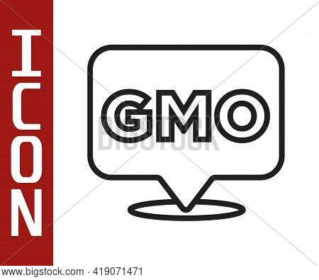 Black Line Gmo Icon Isolated On White Background. Genetically Modified Organism Acronym. Dna Food Mo