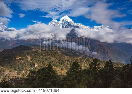 View From Mount Near Khunde Village. Nepal
