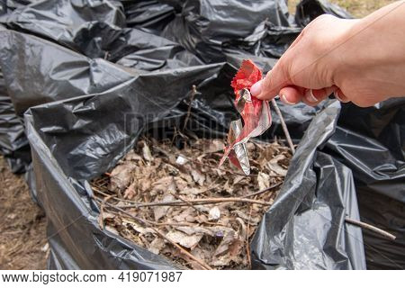 A Hand Puts A Candy Wrapper In A Black Plastic Garbage Bag. Garbage Collection On The Streets Of The