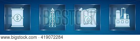 Set Barrel Oil With Dollar, Oil Rig With Fire, Canister For Motor Machine Oil And Oil Industrial Fac