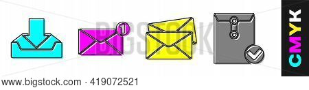 Set Download Inbox, Envelope, Envelope And Envelope And Check Mark Icon. Vector