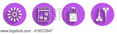Set Firework, Plastic Bag Of Drug, Mulled Wine And Dart Arrow Icon With Long Shadow. Vector