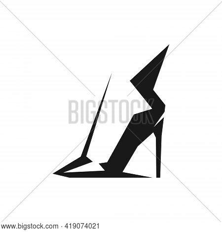 Black High Heel Shoe Symbol On White Backdrop. Design Element
