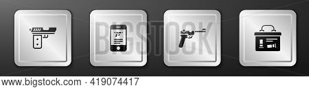 Set Pistol Or Gun, Shop Weapon In Mobile App, Mauser And Military Ammunition Box Icon. Silver Square