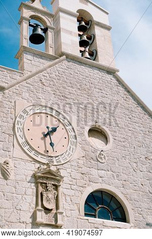 Bells On The Bell Tower And A Clock Of The Church Of St. Barbara, Sibenik