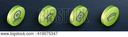 Set Isometric Gong, Yin Yang, Yin Yang And Sushi Icon. Vector