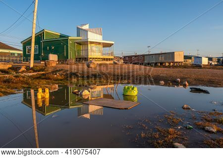 Golden Hour In Inuit Community Of Qikiqtarjuaq, Broughton Island, Nunavut, Canada. Parks Canada Buil