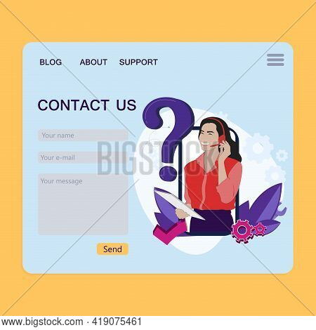 Contact Page For Feedback, Website Page, Customer Claim Interface, Support Form To Communication, Se
