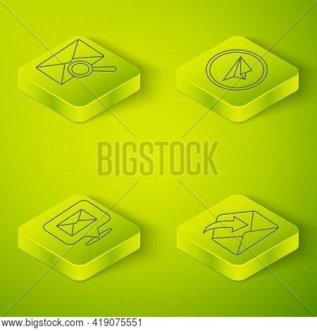 Set Isometric Paper Plane, Speech Bubble With Envelope, Envelope And Envelope With Magnifying Glass