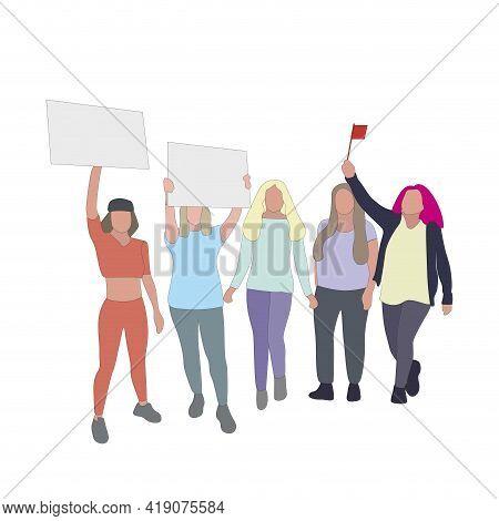 Women Voting Rights, Politics Activism, Public Feminist Parade. Intersectional Feminism Manifestatio