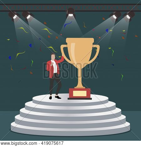 Successful Man With Golden Cup On Stage. Cup Of Winner, Victory Stage, Celebration Achievement, Cham