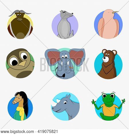 Sticker Funny Avatar Mascot, Songbird And Owl, Bear And Elephant, Wild Creature Bull And Wolf, Carto