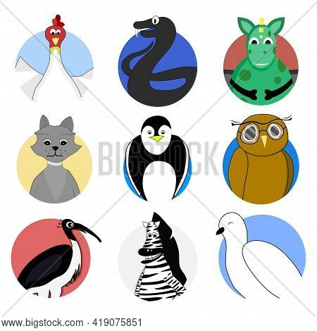 Pigeon And Chicken Sticker, Bird Hen Avatar, Avatar Animal Badge, Illustration Vector Animals, Roost
