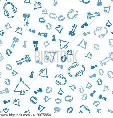 Set Line Jet Fighter, Headphones With Microphone And Aircraft Steering Helm On Seamless Pattern. Vec