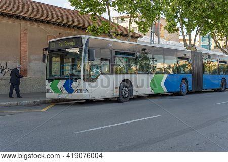 Palma De Mallorca, Spain; April 23 2021: Urban Bus Of The Line Emt Of Palma De Majorca Parked On The