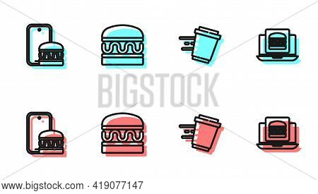 Set Line Coffee Cup To Go, Online Ordering And Delivery, Burger And Burger Icon. Vector