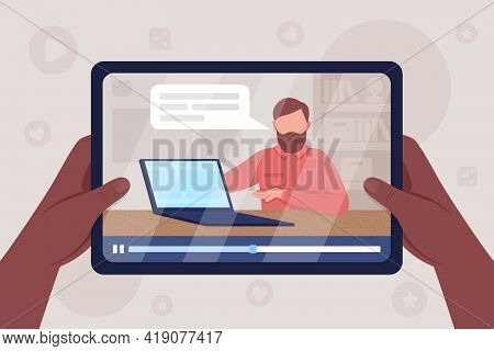Hands Hold Tablet With Computer Unpacking Video Flat Color Vector Illustration. Watch Stream On Tech