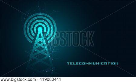 Mobile Telecommunication Digital Tower Background Vector Template Design