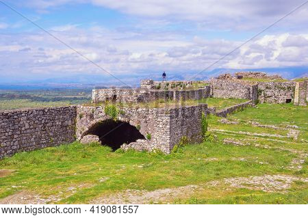 Ancient Fortifications. Albania, Shkoder City. Ruins Of Old Fortress Rozafa Castle