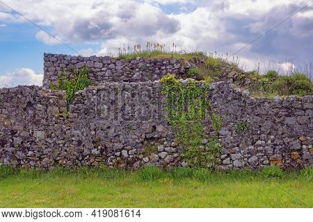 Ancient Ruined Wall, Background. Albania, Shkoder. Ruins Of Old Fortress Rozafa Castle, Detail
