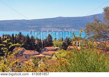 Beautiful  Sunny Mediterranean Landscape With Sailboats On Water.  Montenegro, Adriatic Sea, View Of