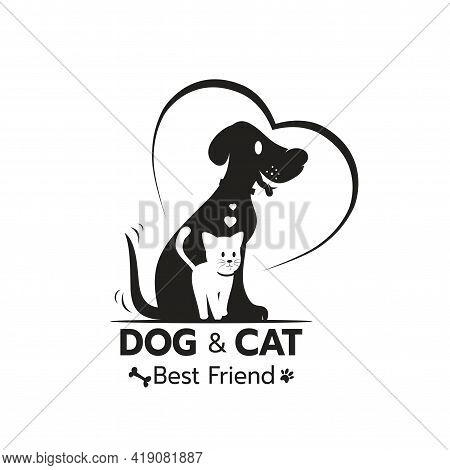 Beautiful Logo Icon Cat And Dog With Heart, Stylized Image Of Cat And Dog Logo Template, Creative Lo