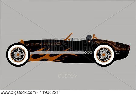 Custom Old Racing Supercar, Flat Design, Fully Editable