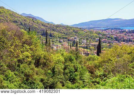 Beautiful  Mountain Landscape  On Sunny Spring Day.  Montenegro, Tivat, Donja Lastva Village