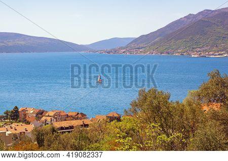 Sunny Vacation Concept. Beautiful  Mediterranean Landscape.  Montenegro, Adriatic Sea, View Of Bay O
