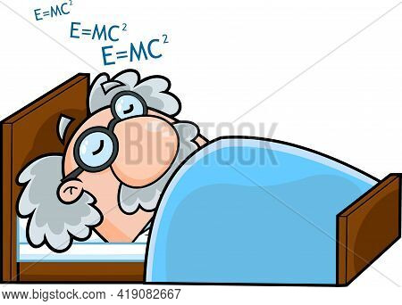 Sleeping Science Professor Cartoon Character Dreaming Formulas. Raster Hand Drawn Illustration Isola
