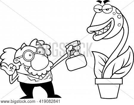 Outlined Science Professor Cartoon Character Spraying Evil Carnivorous Plant. Raster Hand Drawn Illu