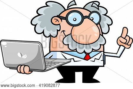 Smiling Science Professor Cartoon Character With Laptop Pointing. Hand Drawn Illustration Isolated O