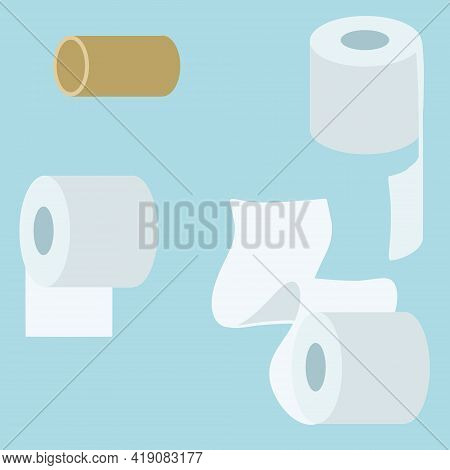 Set Of Toilet Paper. Bath Element. White Object. Several Rolls Of Paper Towels On Blue Background. F