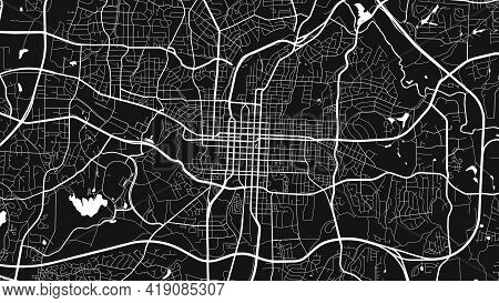 Black And White Raleigh City Area Vector Background Map, Streets And Water Cartography Illustration.