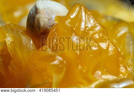 Macro Shot Of Juicy Mandarin Pulp, Peel And Seeds