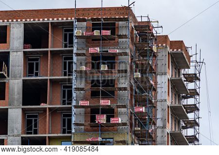 Construction Of A Monolithic Apartment Building And Brickwork