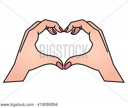 Hands Show Gesture - Heart Vector Full Color Illustration. Heart Sign Shown By Hands. Valentine's Da