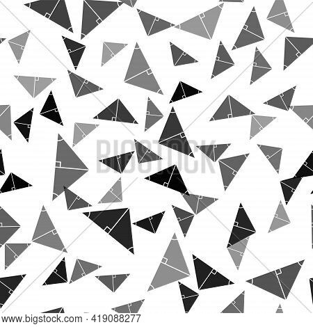 Black Angle Bisector Of A Triangle Icon Isolated Seamless Pattern On White Background. Vector