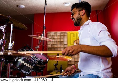 Young Arabic Man In A Professional Recording Studio